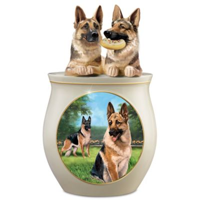 Linda Picken German Shepherd Art Sculpted Ceramic Cookie Jar by