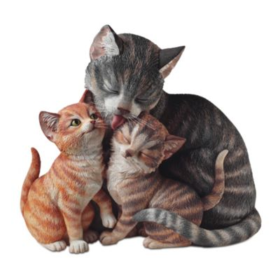 Fur-Ever Family Lifelike Mother Cat And Kittens Sculpture by
