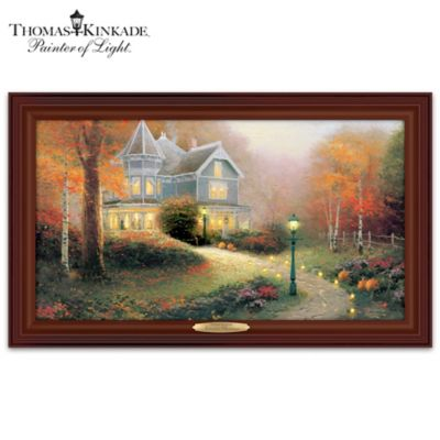 Thomas Kinkade Autumn Blessings Illuminating Canvas Print by
