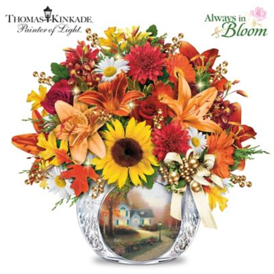 Thomas Kinkade Lighted Autumn Bouquet And Crystal Vase by
