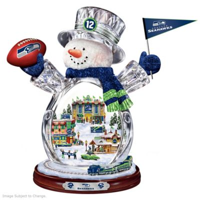 Seattle Seahawks Crystal Snowman With Moving Train by