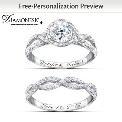 Entwined Diamonesk Bridal Rings With Personalized Engraving by