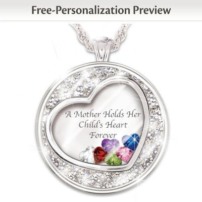 Mother Holds Her Child's Heart Birthstone Pendant With Names by