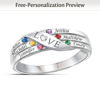 Love Holds Our Family Together Name-Engraved Birthstone Ring by