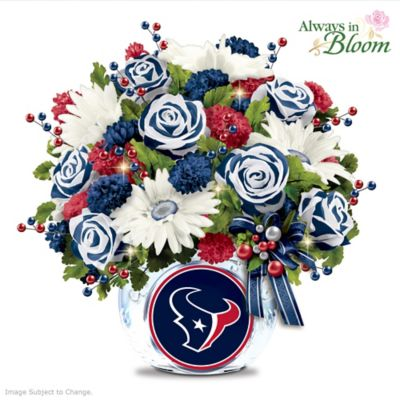 Houston Texans Team-Color Bouquet And Lighted Crystal Vase by
