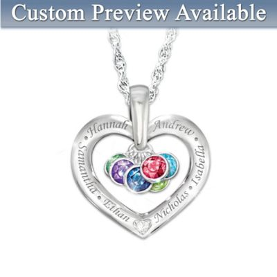 Together With Love Diamond Pendant With Names & Birthstones by