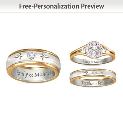 Forever In Faith Customized His & Hers Diamond Wedding Rings by