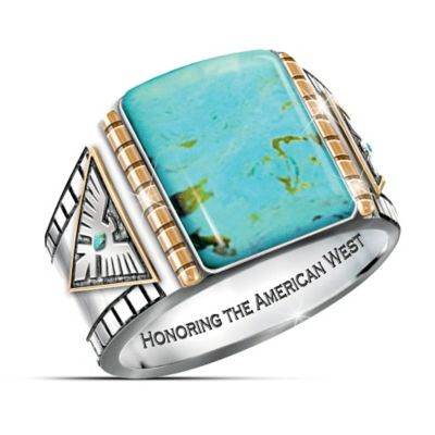 Power Of The West Turquoise Cabochon Thunderbird Mens Ring