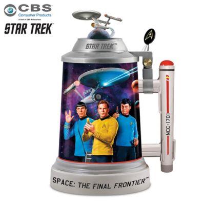 STAR TREK Porcelain Stein With Sculpted Starship Enterprise by