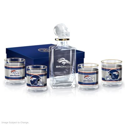 Denver Broncos Five-Piece Decanter And Glasses Set by
