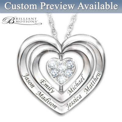 Brilliant Motions Personalized Diamond Family Pendant by