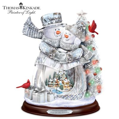 thomas kinkade hugs for the holidays crystal snowman sculpture. Black Bedroom Furniture Sets. Home Design Ideas