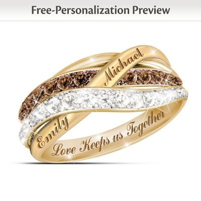 "Click here to buy ""Together In Love"" Mocha And White Diamond Ring With 2 Names."