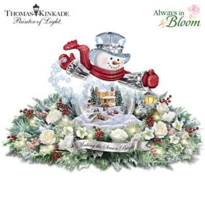 Thomas Kinkade Lighted Floral Holiday Snowman Centerpiece by