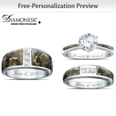Camo His And Hers Personalized Diamonesk Wedding Ring Set by