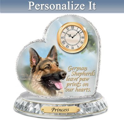 Linda Picken German Shepherd Clock With Your Dog's Name by