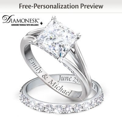 Princess Platinum Plated Personalized Bridal Wedding Ring Set For