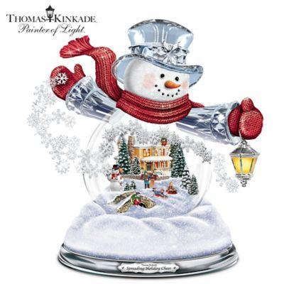 Thomas Kinkade Illuminated Musical Holiday Snowman Snowglobe by