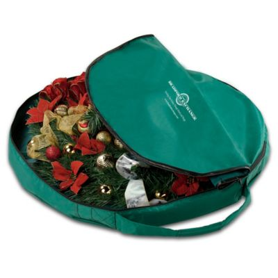 Christmas Wreath Zippered Storage Bag With Easy-Carry Handle by