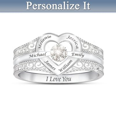 I Love My Family Diamond Ring Personalized With Family Names by