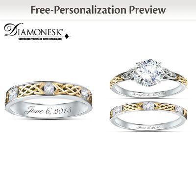 Irish Trinity Knot Custom His & Hers Diamonesk Wedding Rings by