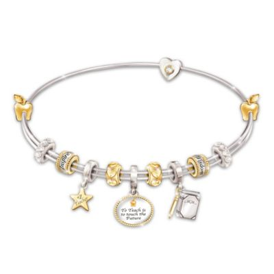 Passion For Teaching Charm Bracelet With Swarovski Crystals by