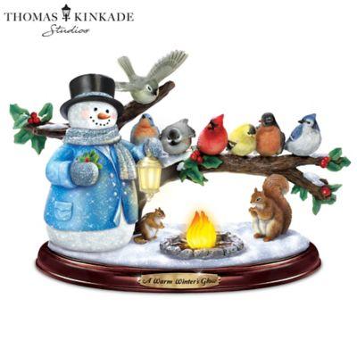 Thomas Kinkade Lighted Musical Snowman & Songbird Sculpture by