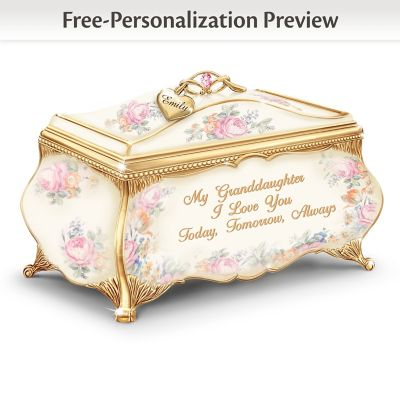 Granddaughter Porcelain Music Box With Name-Engraved Charm by