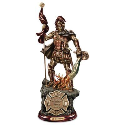 St. Florian Cold-Cast Bronze Firefighter Sculpture by