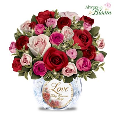 Today, Tomorrow, Always Rose Bouquet In Lighted Crystal Vase by