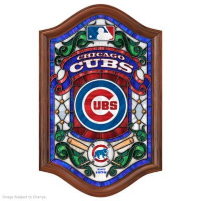 MLB-licensed Chicago Cubs Illuminated Stained Glass by