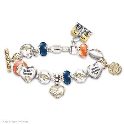 Broncos Super Bowl 50 Swarovski Crystal Charm Bracelet by