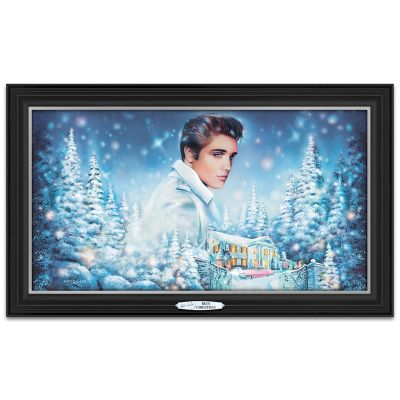 Elvis Presley Blue Christmas Illuminated Musical Wall Decor by