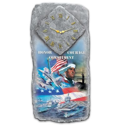 U S Navy Honor Courage And Commitment Wall Clock