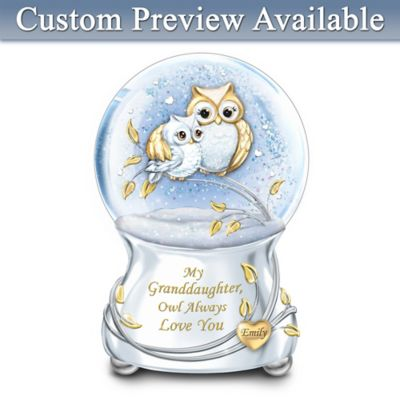 Owl Always Love You Glitter Globe With Granddaughter's Name by