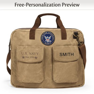 U.S. Navy Personalized Canvas Messenger Tote Bag With Name by