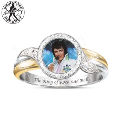 Embrace The King Engraved Elvis Ring With Swarovski Crystals by