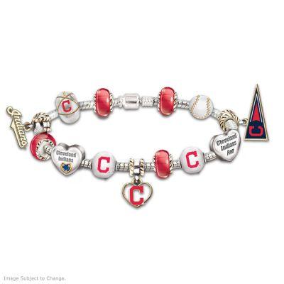 Cleveland Indians Charm Bracelet With Swarovski Crystal by
