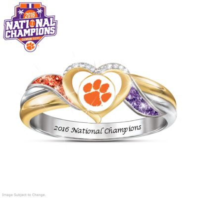 Clemson 2016 Champions Ring With Team Colored Crystals by