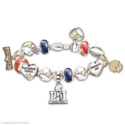 Patriots Super Bowl LI Swarovski Crystal Charm Bracelet by