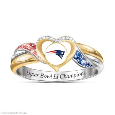 Patriots Super Bowl LI Ring With Team Colored Crystals by
