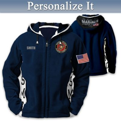 USMC Semper Fi Hooded Fleece Jacket With Embroidered Name by