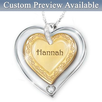 Name-Engraved Heart Pendant Necklace For Granddaughters by
