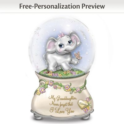 Granddaughter Musical Glitter Globe With Name-Engraved Charm by