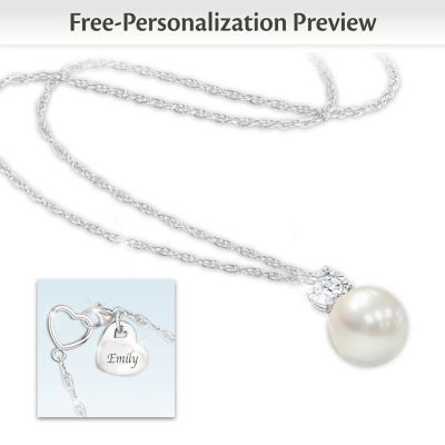 Precious Granddaughter Personalized Cultured Pearl Necklace by