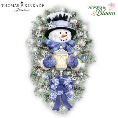 Thomas Kinkade A Warm Winter Welcome Snowman Wreath by