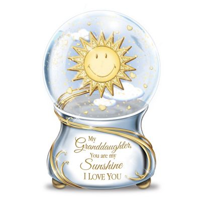 My Granddaughter, You Are My Sunshine Musical Glitter Globe by
