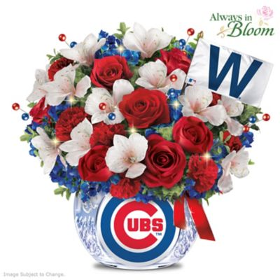 Chicago Cubs Team-Color Bouquet And Lighted Crystal Vase by