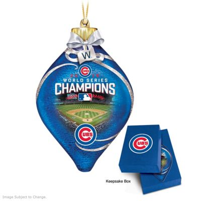 Cubs 2016 World Series Champions Lighted Glass Ornament by