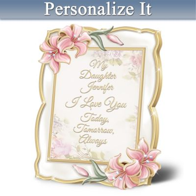 Daughter, I Love You Heirloom Porcelain Personalized Frame by